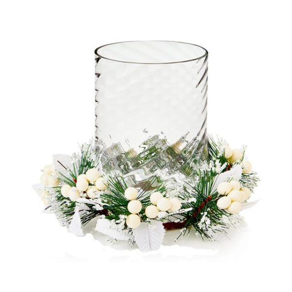 White candle ring with glass candle holder | Christmas ...