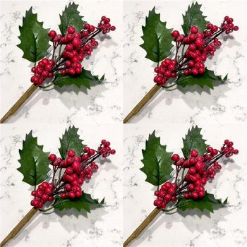 artificial green holly and red berry picks