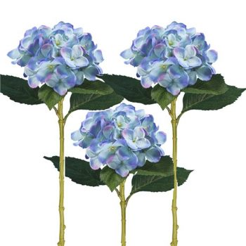three artificial blue hydrangea stems