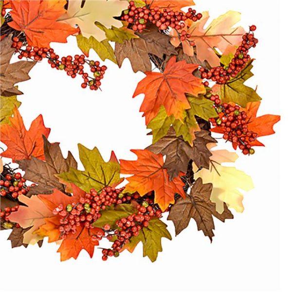 orange berry maple leaf wreath