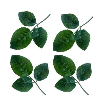 21 green artificial rose leaves