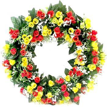 artificial rosebud and gypsophila wreath