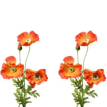 set of two artificial orange poppies