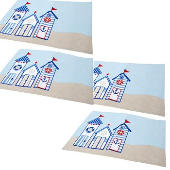 beach hut placemats