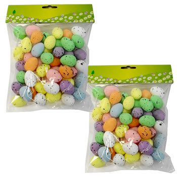 two bags of small plastic eggs for Easter decorations
