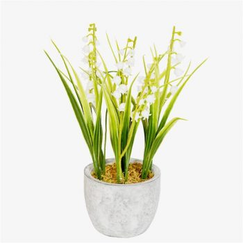 artificial lily of the valley in ceramic pot