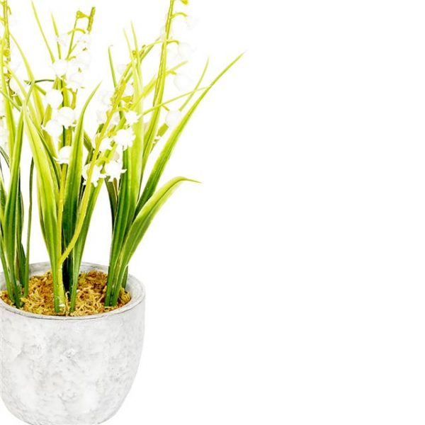 artificial lily of the valley in grey ceramic pot