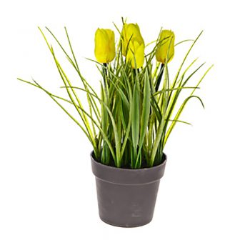 artificial yellow potted tulips