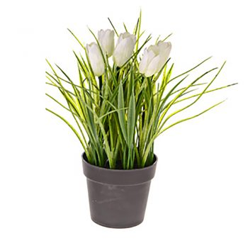 artificial potted white tulips