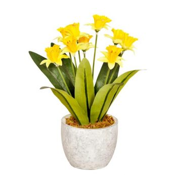 artificial narcissus in ceramic pot