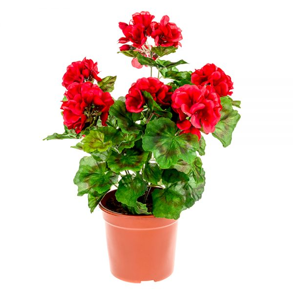 potted artificial red geranium