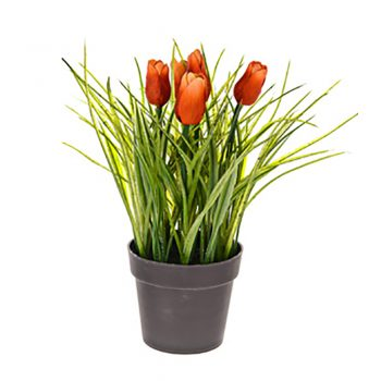 artificial red potted tulips