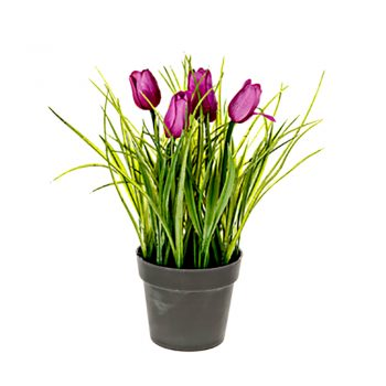 artificial purple potted tulips