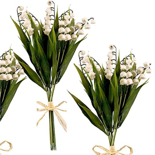 three lily of the valley stem bushes tied with raffia