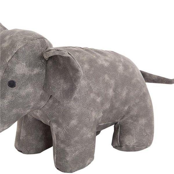 elephant doorstop with grey suede