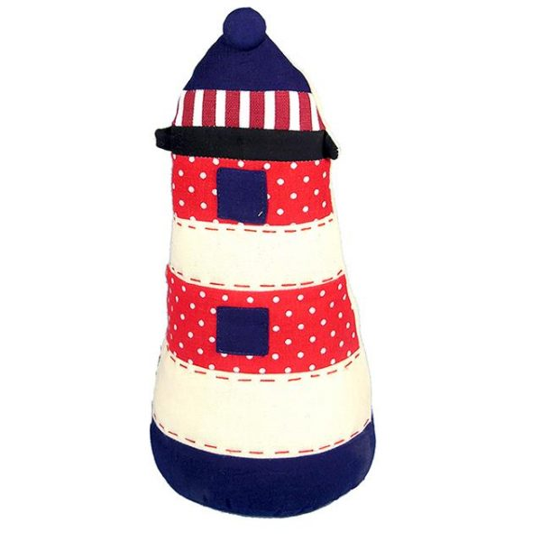 red. white and blue lighthouse doorstop