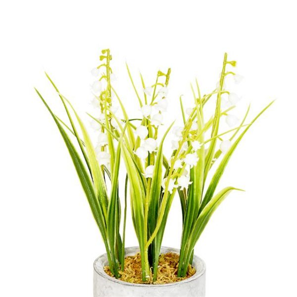 realistic artificial lily of the valley in ceramic pot