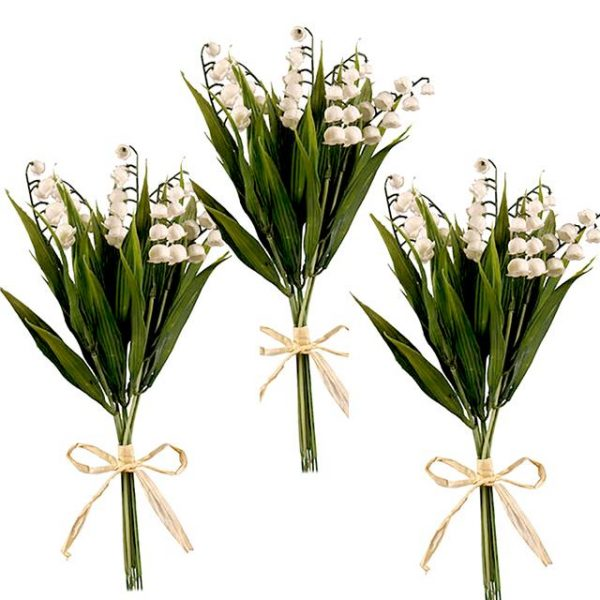 lily of the valley stem bushes tied with raffia