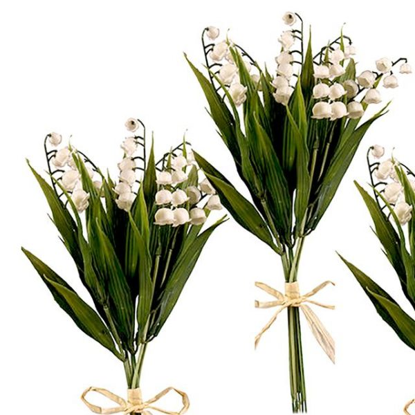 artificial lily of the valley stem bushes tied with raffia