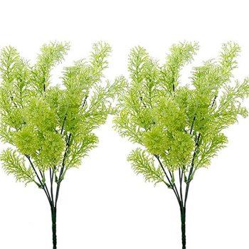 two 33cm artificial conifer bushes