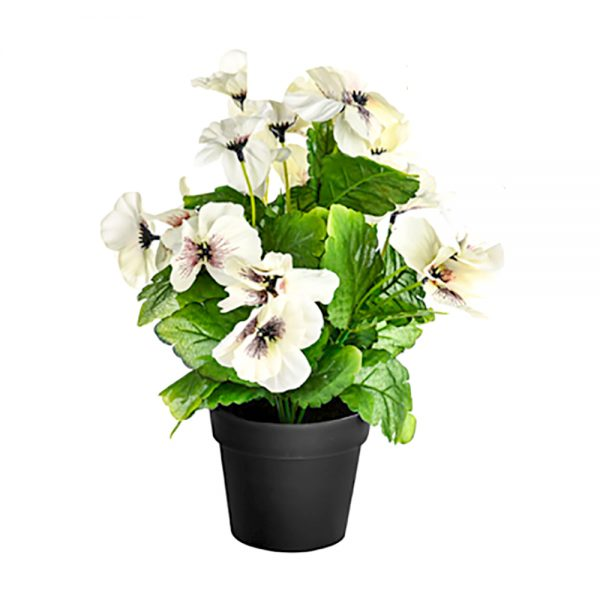 artificial white potted pansy in a black pot