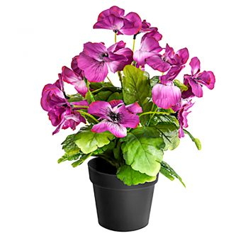 artificial pink potted pansy in black pot