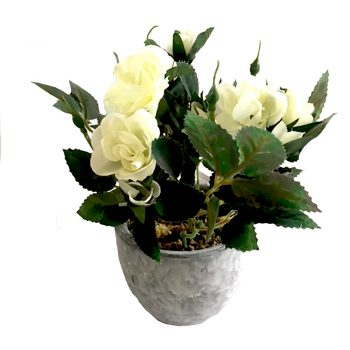 artificial white rose bush in grey pot