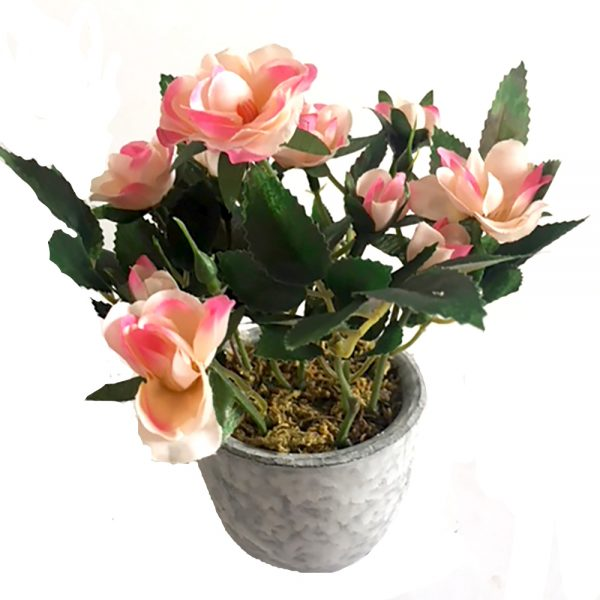 potted artificial pink rose bush