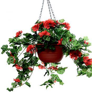 artificial geranium hanging basket