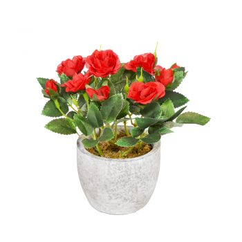 red potted artificial rose bush