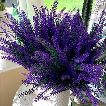 purple artificial heather bush