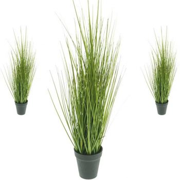 artificial potted grass in black pot