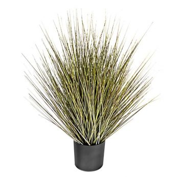 artificial harvest grass in black pot