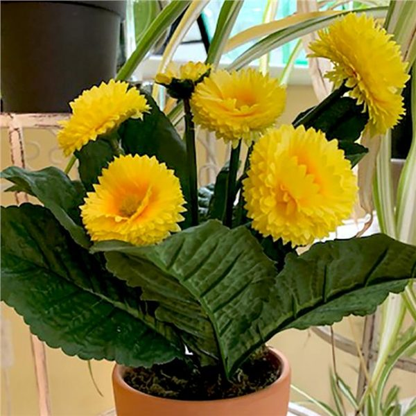 potted, yellow artificial bellis daisy plant