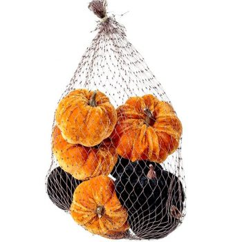 bag of orange and black velvet pumpkins