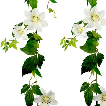 white artificial clematis garland