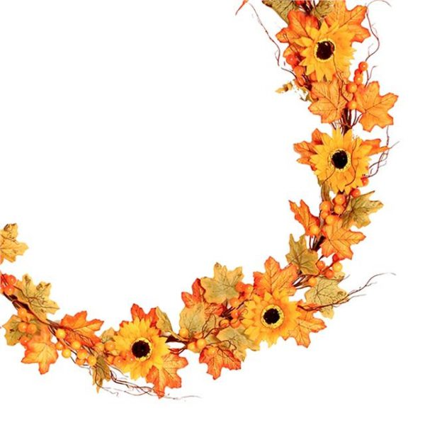 artificial maple garland with realistic sunflowers