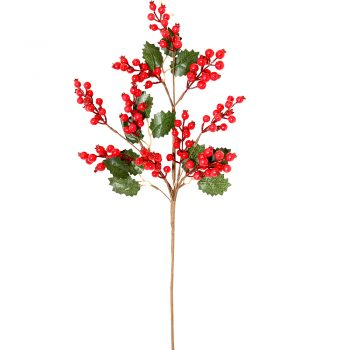 artificial red berry stem with holly leaves