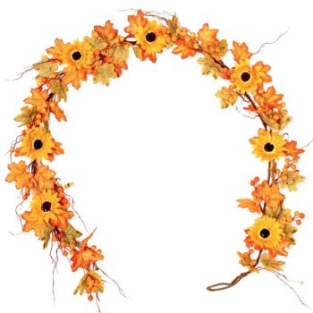 artificial maple garland with sunflowers