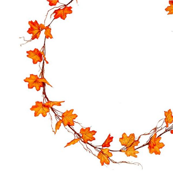 orange artificial autumn leaf garland