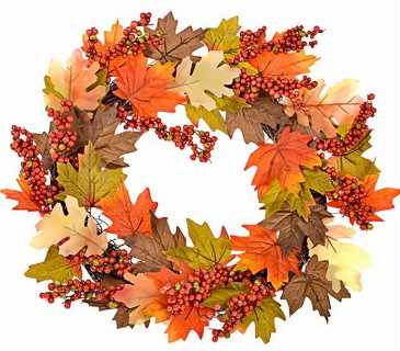 Autumnal artificial wreath
