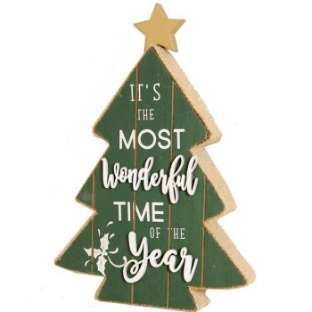 wooden Christmas tree sign with seasonal greeting