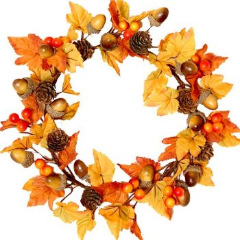 autumn candle ring with maple leaves and acorns