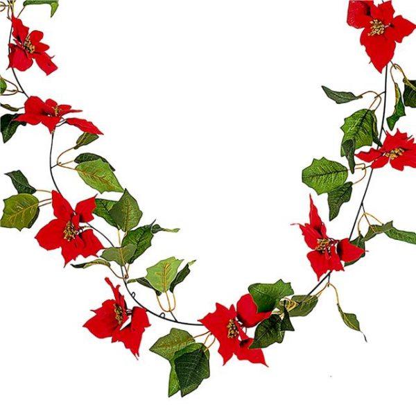 artificial Christmas poinsettia garland