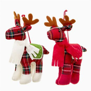 two tartan reindeer Christmas tree decorations