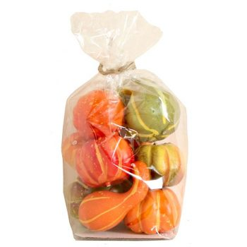 assorted artificial pumpkins in a clear bag