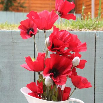 artificial poppy stems in a jug