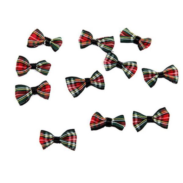 tartan Christmas bows in red and green