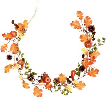 artificial autumn pumpkin garland with maple leaves