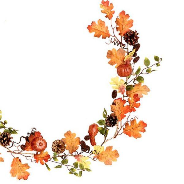 artificial maple leaf and autumn pumpkin garland